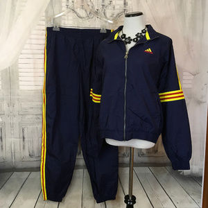 Adidas Large Blue Yellow Red Striped Track Suit